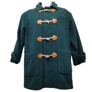 Eddie Bauer Green Wool Coat L Toggle Pockets